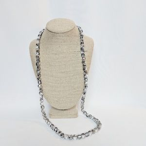 Loft Long Silver Metallic Threaded Fabric Necklace